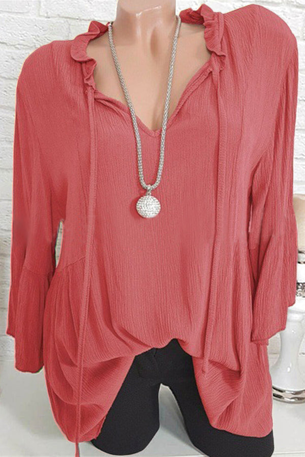 Plus Size Ruffle Tie-up V-neck Blouse