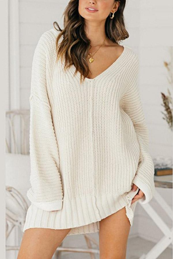 Solid V Neck Loose Long Sleeves Sweater Dress