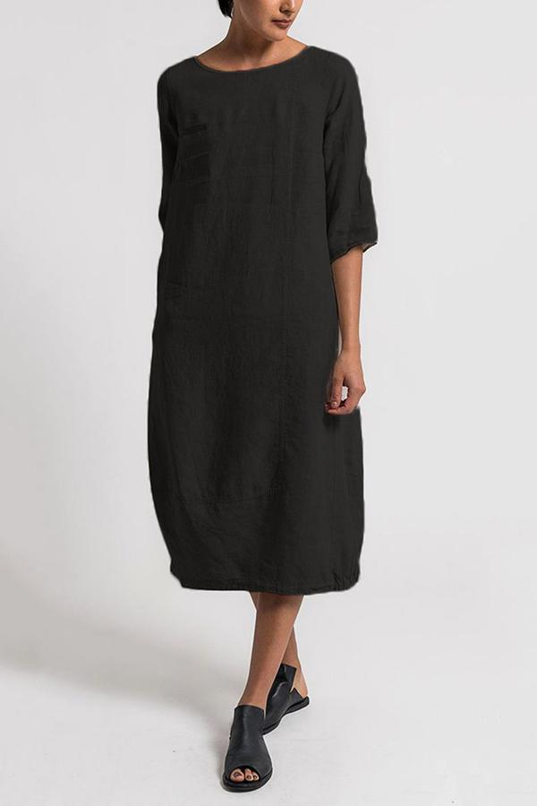 Half Sleeve Shift Linen Midi Dress