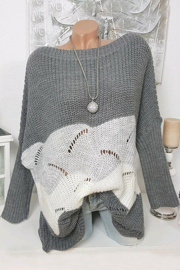 Color Block Hollow Out Knit Sweater