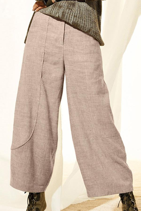 Casual Loose Solid Mid Waist Pants