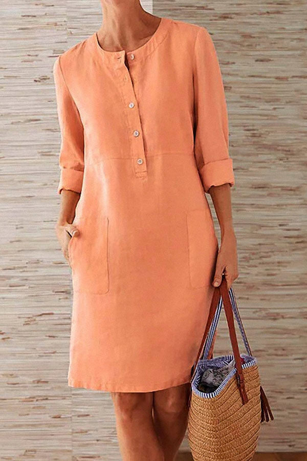 Pockets Front 3/4 Sleeves Midi Dress