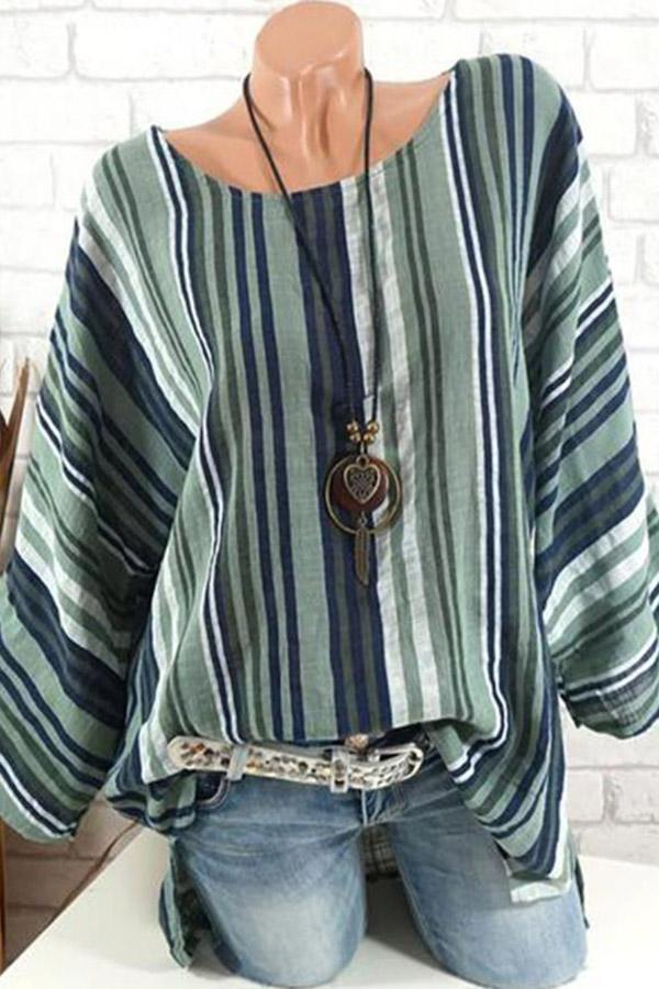 Striped Linen Crew Neck Casual Blouse