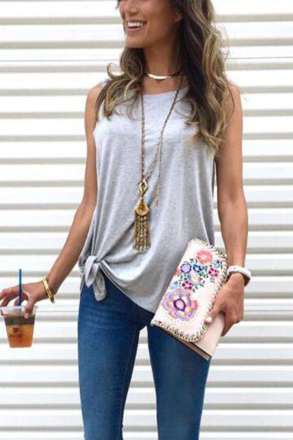 Round Neck Self-tie Casual Plain Camis Tanks Top - iribble