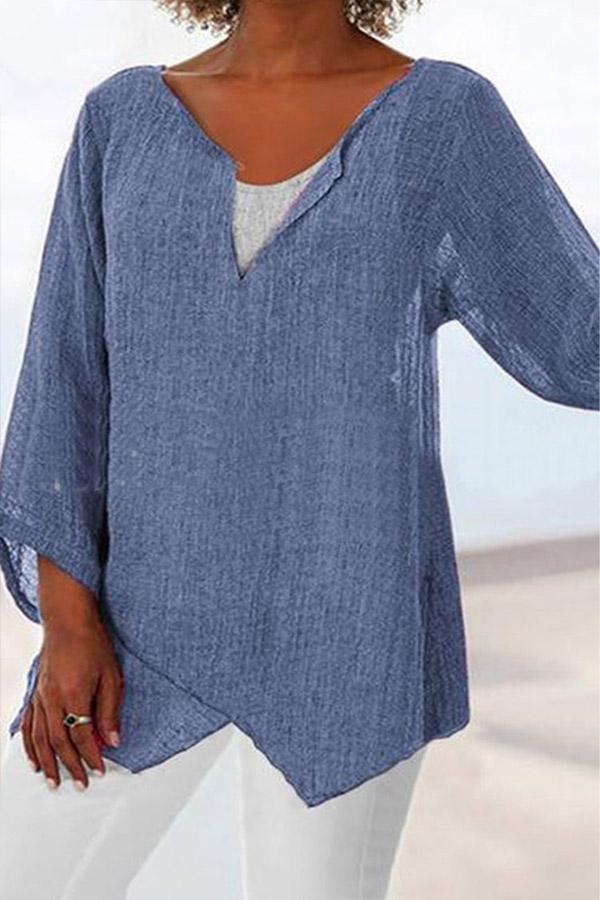 Asymmetric Solid Linen Blouse