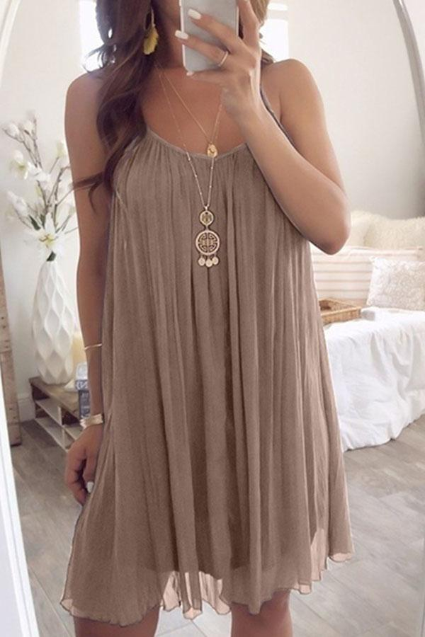 Holiday Solid Paneled Pleated Sling Chiffon Mini Dress