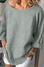 Linen Solid Crew Neck Long Sleeves T-shirts
