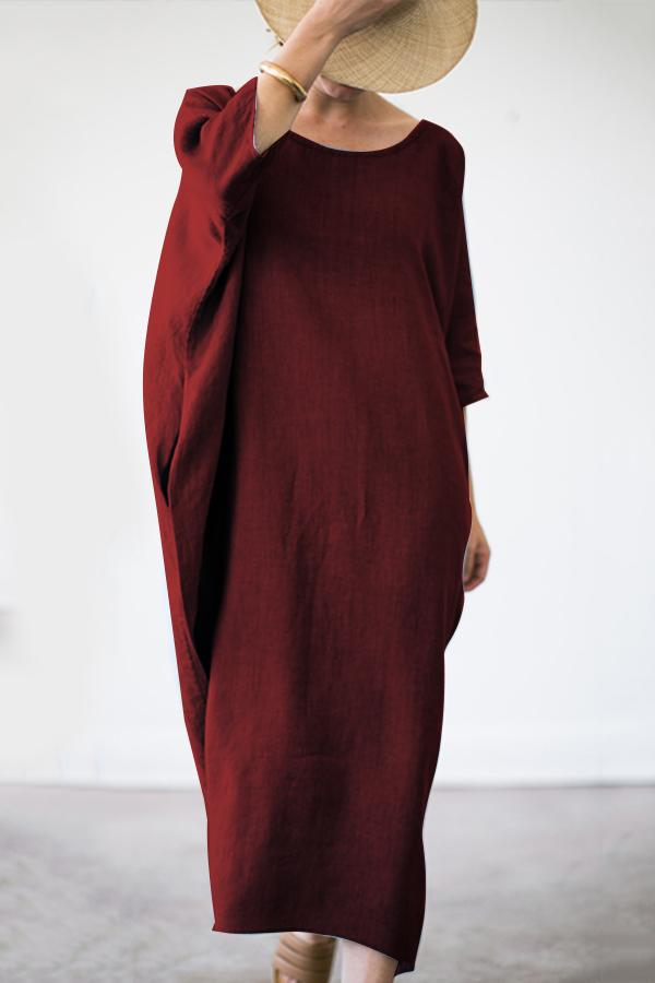 Batwing Crew Neck Maxi Dress