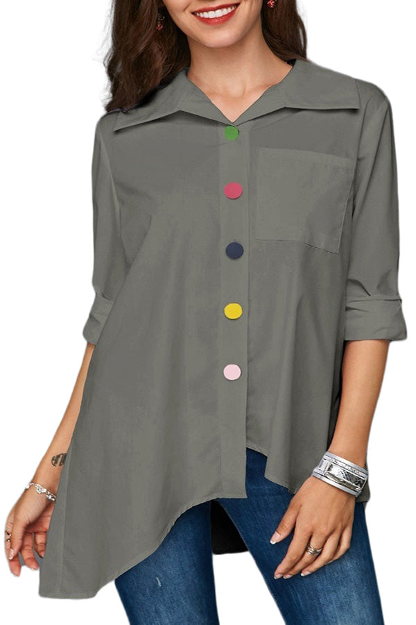 Casual Irregular Colorful Button Blouse