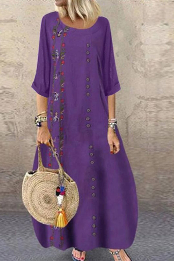 Folk Embroidery Linen Maxi Dress