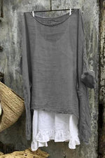 Solid Ruffle Hem Two Pieces Linen T-shirts
