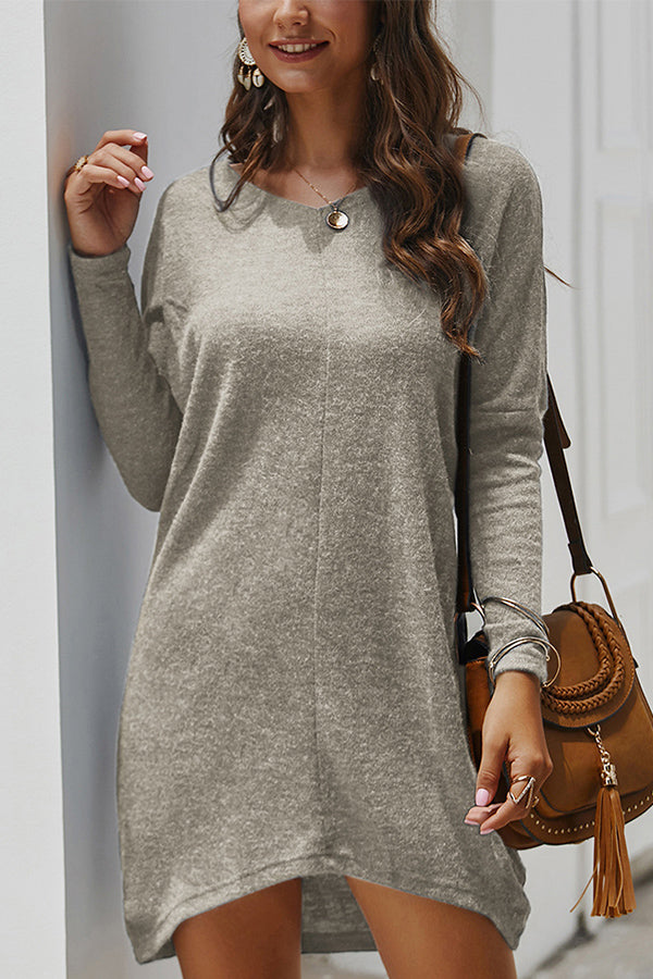 Casual Solid V Neck Long Sleeve T-shirt