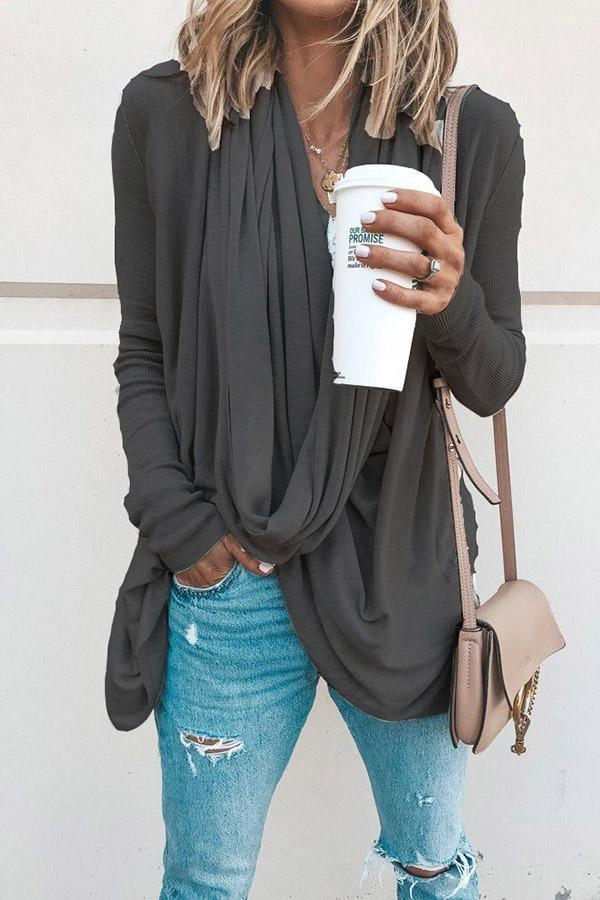 Solid Cowl Neck Long Sleeves Cotton Blouse