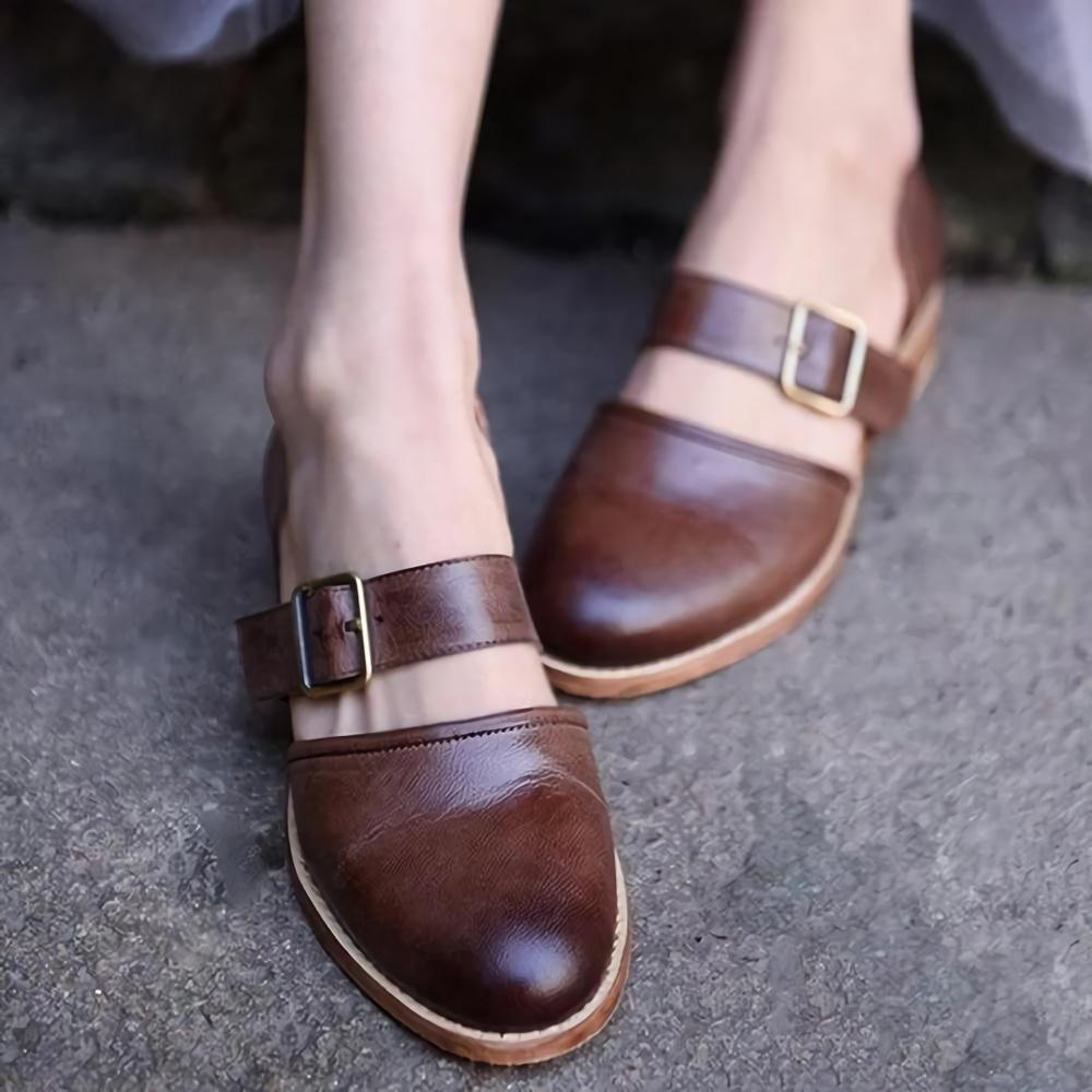 Round Toe Adjustable Buckle Flat Shoes