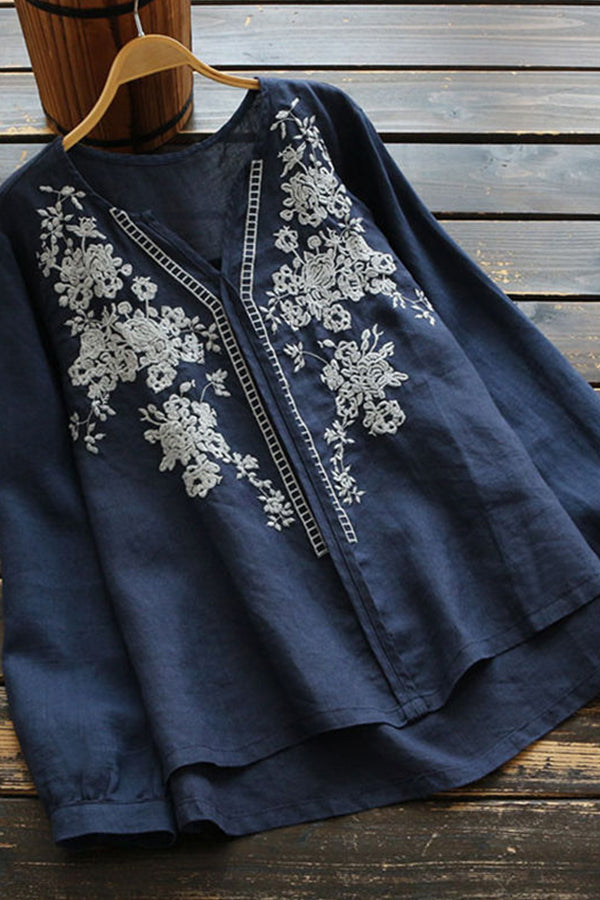 Vintage Embroidery Casual Long Sleeves Blouse