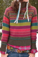 Turtleneck Color-block Striped Casual Sweaters