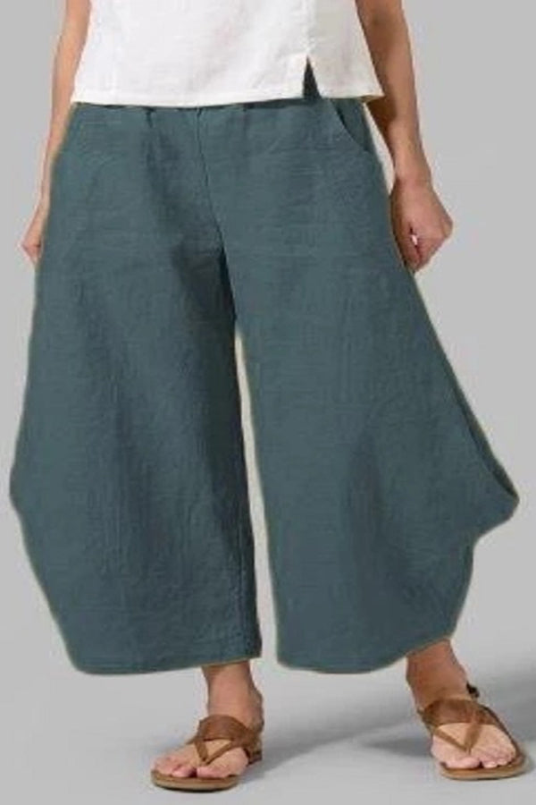 Casual Solid Wide Leg Linen Pants