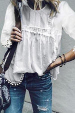 Paneled Floral Lace Trim Pleated Casual Blouse