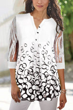 Print Paneled Lace Buttoned V-neck Blouse