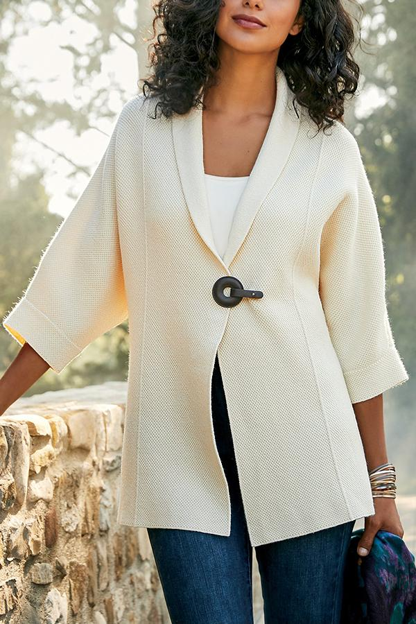3/4 Sleeves Lapel Button Solid Coat
