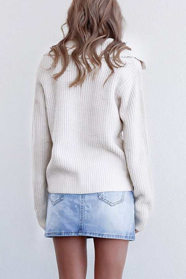 Lapel Collar Zip Knit Sweater