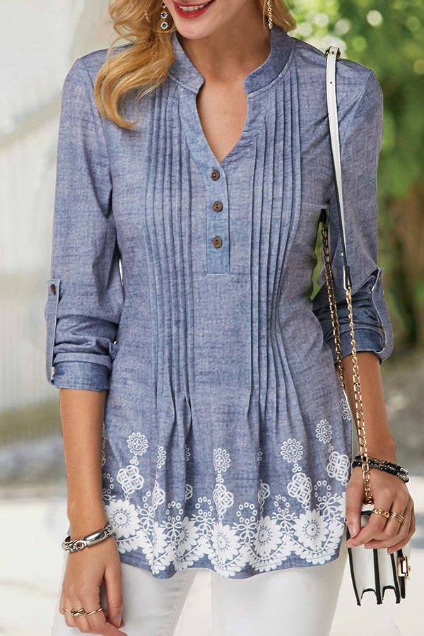 Paneled Floral Print Pleated Button V-neck Blouse