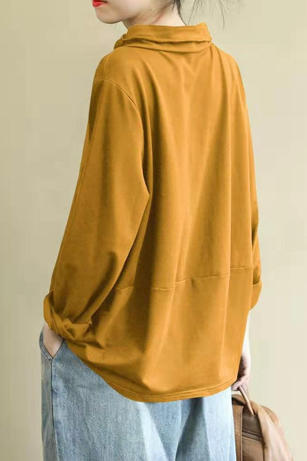 Paneled Solid Asymmetric Pile Neck Zipper Blouse