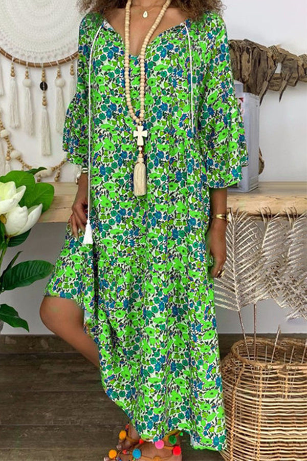 Bohemian Floral Print Loose Shift Dress