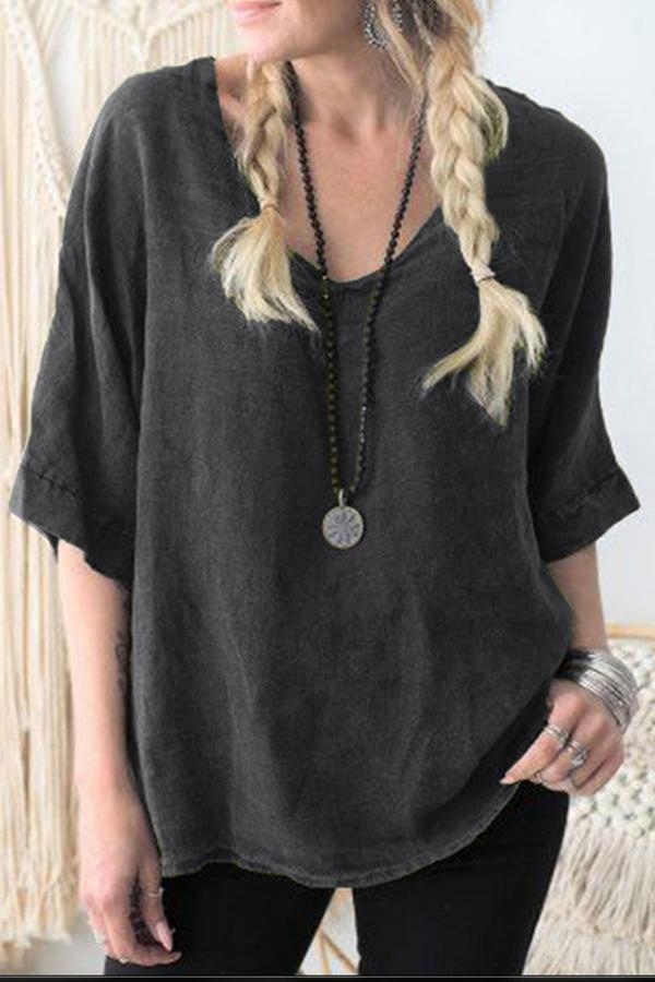 Casual Linen Half Sleeves V Neck Blouse