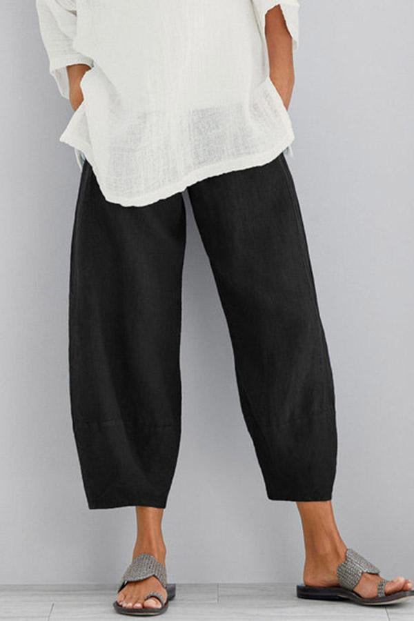 Solid Casual Linen Side Pockets Pants