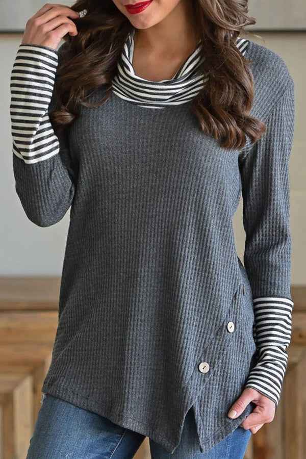 Casual Roll Neck Stripe Button Design Irregular T-shirts