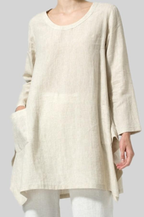 Linen Long Sleeves Irregular Hem Blouses