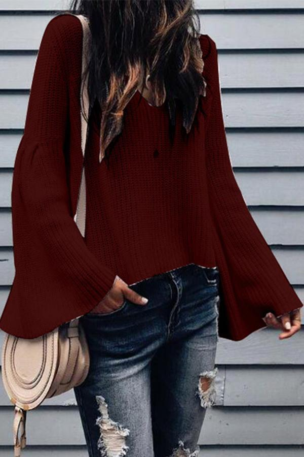 V Neck Bell Sleeves Knitted Sweaters