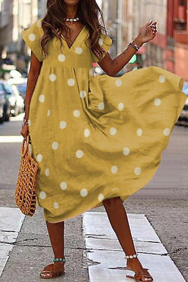 Polka Dot V-neck Loose Linen Midi Dress