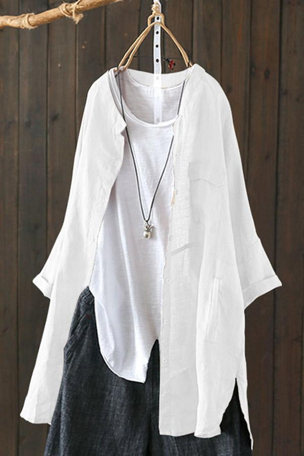 Casual Linen Paneled Long Sleeve Solid Coat
