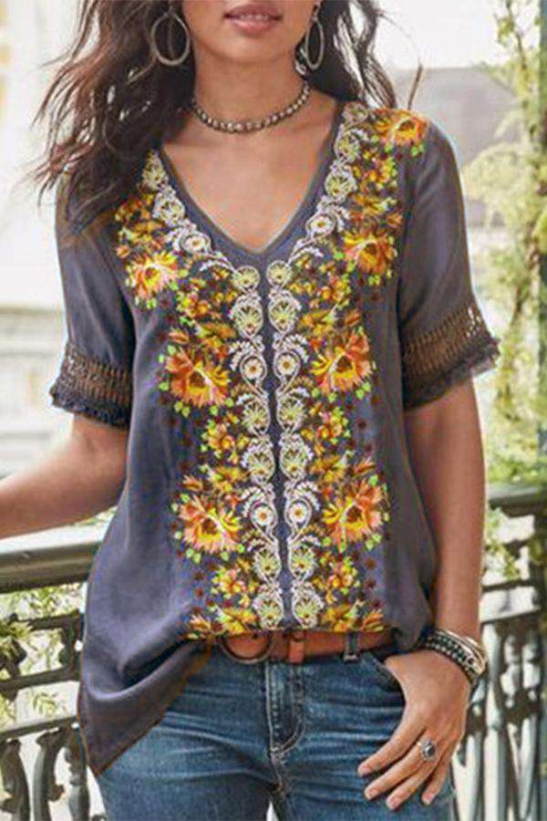 Casual Embroidery Linen Top