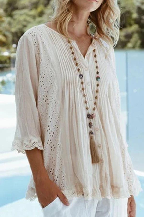 Paneled Lace Cutout Solid Buttons Down Blouse