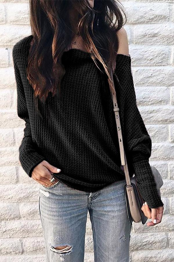 Sexy One Shoulder Solid Knitted Sweater