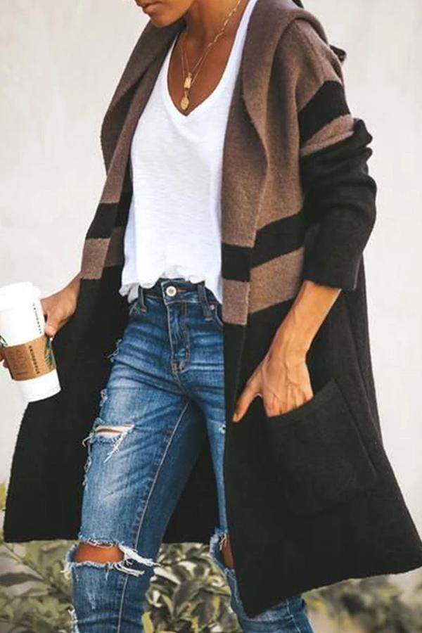 Casual Color-block Side Pockets Hooded Cardigan