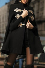 Classic Black Disc Buckle Cape Coat