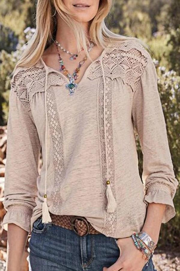 Lace Insert Long Sleeves Tassle Blouses