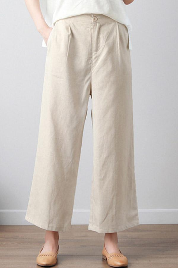 Loose Linen Pockets Solid Pants