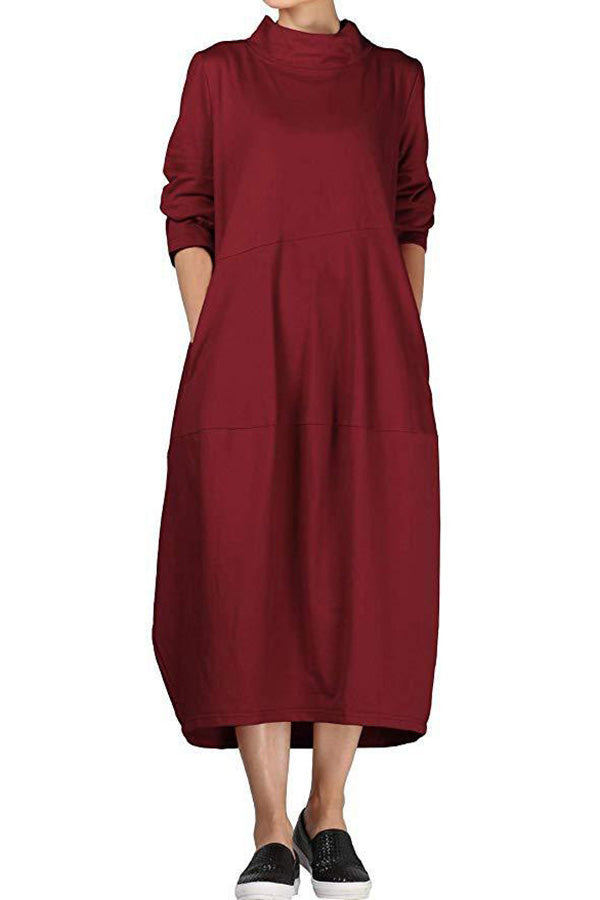 Casual Solid Pockets Loose Midi Dress
