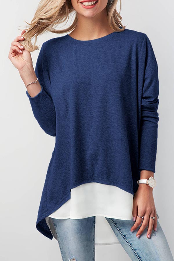 Casual Back Slit Solid Long Sleeves T-shirt