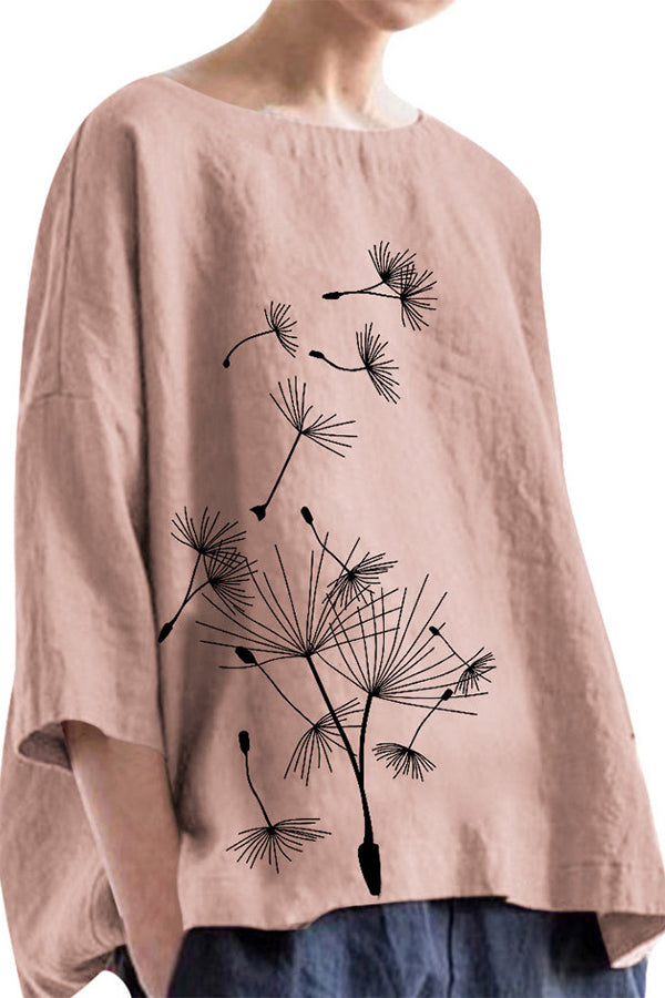 3/4 Length Sleeves Dandelion Print Linen Blouse