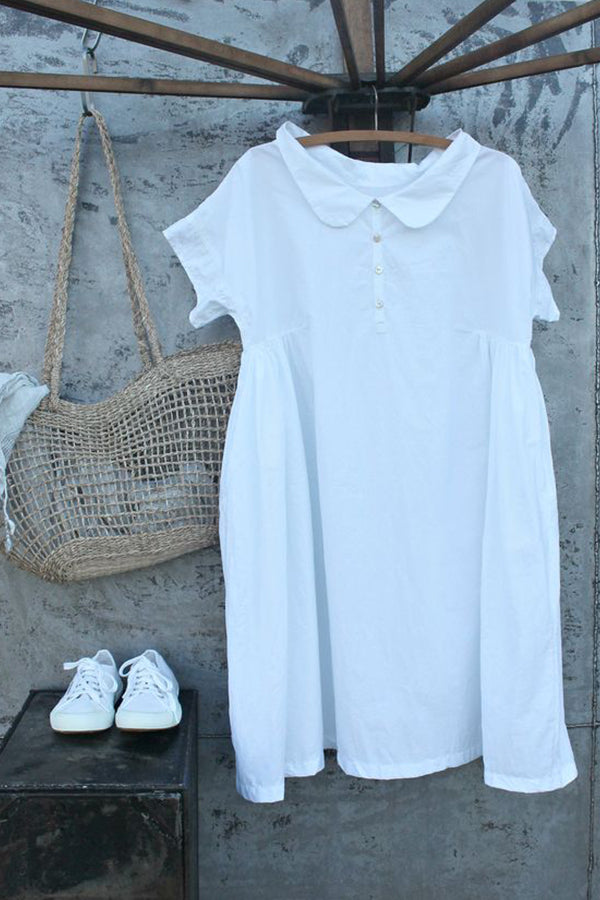 Linen Button Down Short Sleeve Doll Dress