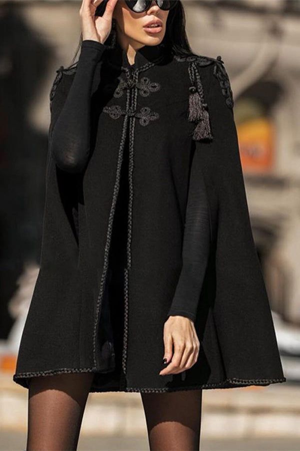Classic Disc Buckle Tassel Cape Coat