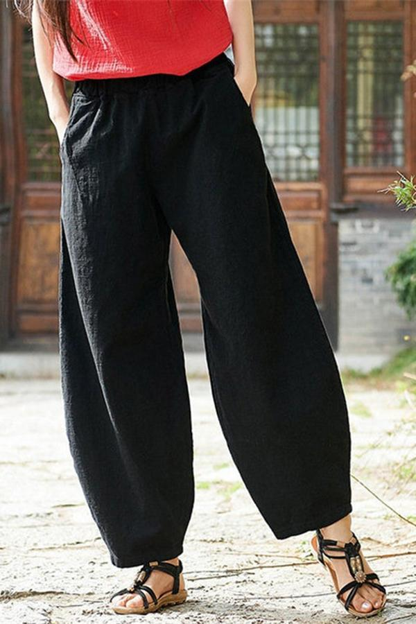 Casual Solid Shift Pants