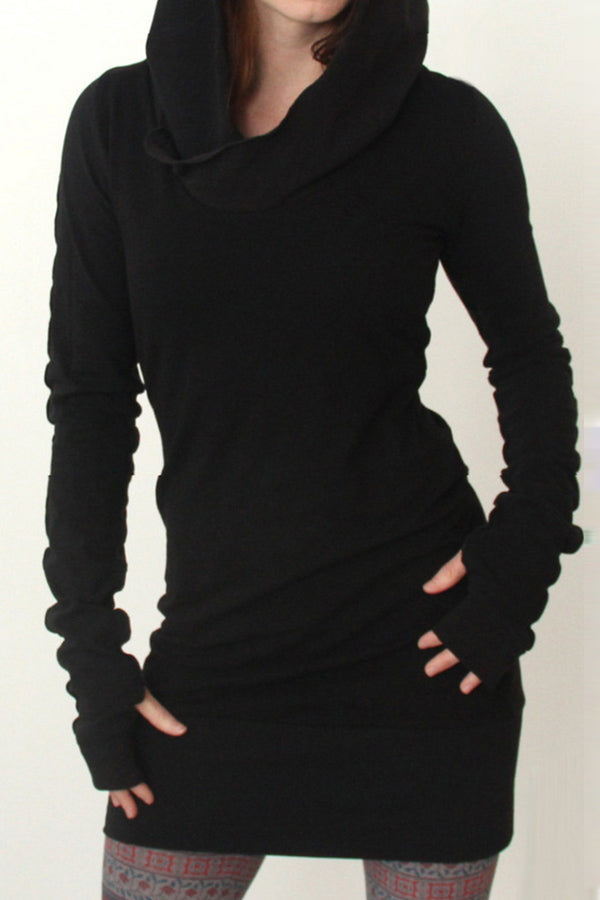 Solid Hoodie Neck Bodycon Mini Dress