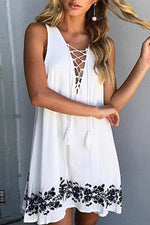 Tassel Lace-up Sleeveless Floral Mini Dress